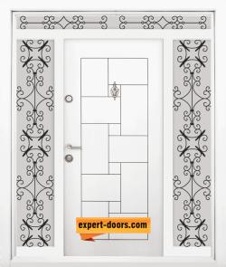 Двукрила входна врата Т-100, цвят Бял