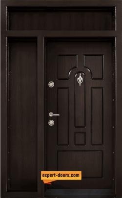 Двукрила входна врата Т-108, цвят Тъмен орех
